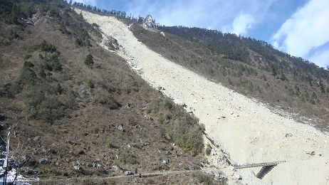 Landslide at Lachen Thangu Road